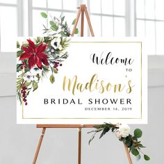 Christmas Shower Welcome Sign Wedding Shower Signs, Bridal Shower Welcome Sign, Christmas Flowers, Christmas Themes, Photo Booth Frame, Floral Theme, Cream Roses, Bridal Shower Decorations, Wedding Programs