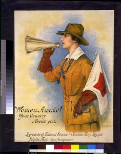 Women awake! Your country needs you--Learn to be of national service - join the Navy League. Hazel Roberts, artist. World War I Posters Collection, Library of Congress Prints and Photographs Division.