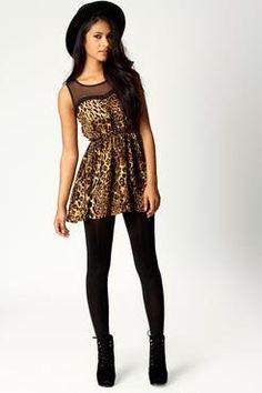 Frankie Mesh Top Leopard Tunic Dress at boohoo.com
