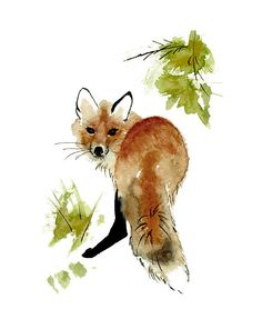 Red Fox Print from Original Watercolor Painting Red by wrensroost, $14.00