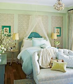 framed wallpaper in panels, love seat at the foot of the bed - 66 Romantic And Tender Feminine Bedroom Design Ideas   DigsDigs