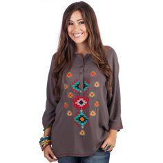 Shop Women's Grey Aztec Blouse