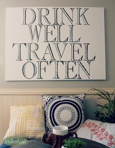 ART IS BEAUTY: DIY Quote ART without a cutting machine . Drink Well Travel OFTEN word art diy home decor wall decor boho bohemain kitchen walls