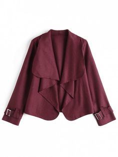 Belted Sleeve Open Front Jacket - WINE RED L