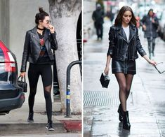 Look rock dicas Feira Shop Phil Collins, Rock N Roll, Looks Rock, Ideias Fashion, Leather Skirt, Punk, Skirts, Outfits, Jeans And Sneakers