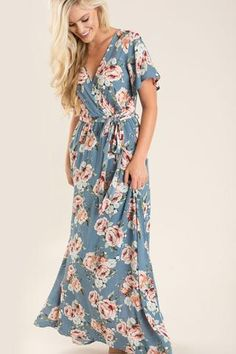 Bethany Blue Floral Maxi Dress