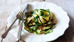 Chargrilled courgette with basil, mint, chilli and lemon