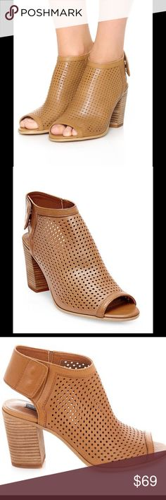 "STEVEN BY STEVE MADDEN Suzy Perforated Booties Modern style in a perforated leather peep toe Block heel, 3.5"" Leather upper Peep toe Rubber sole Steven by Steve Madden Shoes Ankle Boots & Booties"
