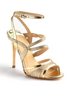 Strappy glitter sandals with a heel by Ivanka Trump. #lordandtaylor