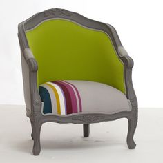 """Fauteuil cabriolet """"Hugo"""" par Mathilde et Pauline chez Delamaison Funky Chairs, Colorful Chairs, Cool Chairs, Living Room Sofa Design, Living Room Redo, Sofa Chair, Upholstered Chairs, Sofa Recovering, Furniture Decor"""