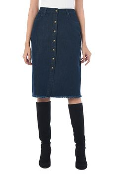Button down denim pencil skirt #eShakti
