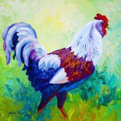 roosters and chickens painting books | ... Himself - Rooster Painting - Full Of Himself - Rooster Fine Art Print