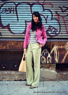 Pink Blazer, Striped Thermal, Mint Green Trousers, Leopard Heels