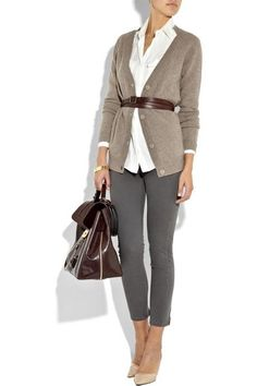 love the leggins with the belted sweater and whie shirt, great heels ... color tones are awesome
