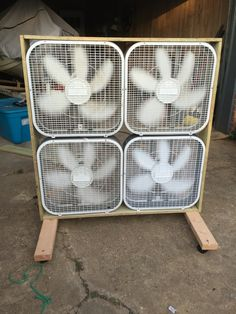 DIY fan made out of box fans, one of the ways to save on AC bills this summer energysaving savingmoney summertips energysavingtips coolingtips homeimprovement airconditioning fan fans is part of Garage workshop -