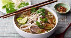 Vietnamese Beef Noodle Soup (Pho Bo):This popular soup from Vietnam features rice noodles,flavorful soup stock,medium rare slices of beef and fresh herbs. Asian Recipes, Beef Recipes, Soup Recipes, Cooking Recipes, Healthy Recipes, Beef Pho Soup Recipe, Gourmet Recipes, Noodle Recipes, Healthy Cooking