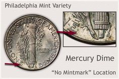 Reverse of Philadelphia Mint Mercury Indicating No Mintmark Old Coins Worth Money, Old Money, Silver Dimes, Silver Coins, Silver Value, Old Coins Value, Valuable Coins, Coin Worth, Coin Values