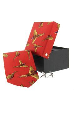 Soprano Red Pheasant Silk Country Tie Cufflink www.ties-online.com/red-pheasant-silk-country-tie-cufflink £34.95