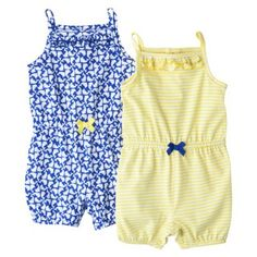 Just One You™Made by Carter's® Newborn Girls' 2 Pack Romper Set - Blue/Yellow