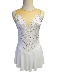 http://sk8gr8designs.com White and Silver Swan Lake figure skating dress, created to feel very balletic, but without feather detail allowing the skater to wear the dress for next season if the program music is changed.