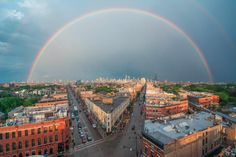 Stunning Shot Of Double Rainbow Over Chicago