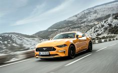 Download wallpapers 4k, Ford Mustang GT, road, 2018 cars, yellow Mustang, supercars, Ford