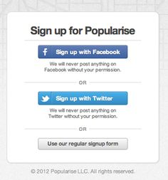 Sign Up well done with other social platforms.