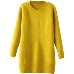 Blackfive Round Neck Long Sleeves Md-long Yellow Knitwear ($26) ❤ liked on Polyvore featuring tops, sweaters, dresses, blackfive, shirts, vestidos, yellow, extra long sleeve shirts, long sweaters and round neck sweater