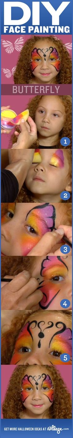 DIY Butterfly Face Painting for Kids How To Do Butterfly, Butterfly Face Paint, Butterfly Party, Rainbow Butterfly, Face Painting Tutorials, Face Painting Designs, Body Painting, Halloween Make Up, Halloween Face