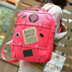 Badge preppy style backpack neon color medal bag.laptop backpack for girls   girls  backpacks  fashion www.loveitsomuch.com 5d18119fa24e7