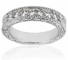 Antique Design Bead Set Round Diamond Wedding Band With Miligrain Edge