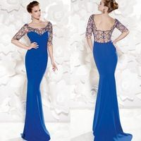Sexy 2015 Long Evening Dresses With Beading Pattern O-Neck Charmeuse Fabric Evening Gowns Half Sleeves Open Back Dress Evening