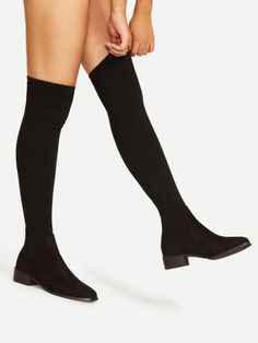 Shop Almond Toe Over Knee Sock Boots online. SheIn offers Almond Toe Over Knee Sock Boots & more to fit your fashionable needs. Thigh High Boots Heels, Thigh High Socks, Thigh Highs, Knee High Sock Boots, Over Knee Socks, Over The Knee Boots, Girls Formal Shoes, Boot Socks, Boots Online