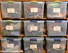 Get a handle on the clothes overflow. Sorting and storing kids clothes via An Inviting Home