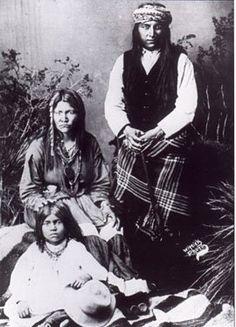 Kaytennae (Warm Springs) with his wife, Gouyen (Mescalero), and their son Kaywaykla (aka James Kaywaykla) - Apache - 1884