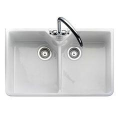 Franke Ceramic Kitchen Sinks UK - Franke Rangemaster Rustique Belfast Double Bowl Ceramic Sink - CDB800WH