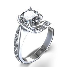 Alluring Twist Diamond Engagement Ring in 14k White Gold
