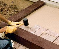 """DYI: Patio & or step ideas using Holland pavers in timber casing with sand as """"mortar for the joints."""" Simple."""