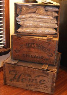 Vintage beer crates for home brew ingredient storage