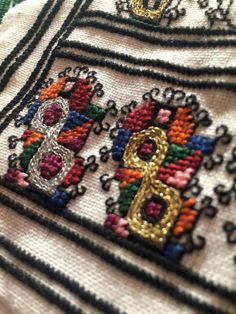 Romanian blouse embroidery detail/Bucovina Folk Embroidery, Embroidery Patterns, Cross Stitch Patterns, Dress Design Sketches, Embroidered Clothes, Bead Crochet, Cross Stitching, Blackwork, Needlework