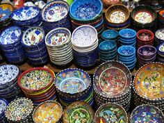 When I was in Istanbul last fall, I bought beautiful bowls for Holly in the Grand Bazaar. Those bowls had different shades of purple and th. Kusadasi, Turkish Design, Turkish Art, Turkish Plates, Turkish Style, Istanbul, Kitchen Dishes, Image Collection, Hgtv