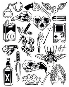 Thank you everyone that participated in my flash tattoo sale and helped me to promote and celebrate the new flash sheets! These designs… Tattoo Geek, Kritzelei Tattoo, Doodle Tattoo, Dark Art Tattoo, Temp Tattoo, Mini Tattoos, New Tattoos, Body Art Tattoos, Sleeve Tattoos