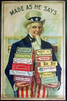 Vintage ad with Uncle Sam holding boxex of crackers. For a full board of Printable Food Labels, Boxes & Ads with 'No Pin Limits', Click here: https://www.pinterest.com/annesminis/~-food-labelsads-old-foods-printables-~/