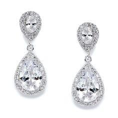 dbf708325cb4 Mariell CZ Teardrop Clip On Wedding Earrings, Dainty Pear-Shaped Cubic  Zirconia Dangle Clip-On for Brides