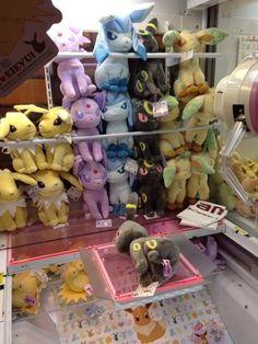 Pokemon Photos from Tokyo - Jolteon Espeon Glaceon Umbreon Leafeon plushie crane game