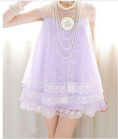 Stars and Lace Baby Doll Dress in Lilac / Pastel Goth.. | Kawaii | Pinterest