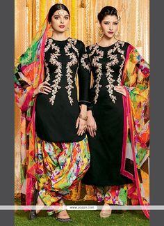 Noble Cotton Satin Print Work Designer Suit Model: YOS6626
