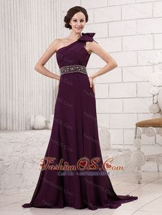 One Shoulder Bowknot Beaded Decorate Waist Brush Train Hottest For 2013 Evening Gowns- $141.39  www.fashionos.com  customize evening dress | wholesale evening dress | evening dress with beading | affordable evening dress | free shipping evening dress | evening dress for 2013 | where to buy evening dress | discount evening dress | high end evening dress |