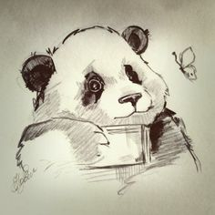 I want to draw this :) So cute Panda Art, Panda Panda, Panda Love, Cute Panda, Cute Animal Memes, Cute Animals, Sketchbook Drawings, Art Drawings, Friend Tattoos