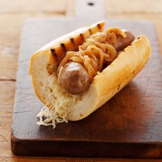 bratwurst with carmelized onions (maybe add balsamic & mustard to onions--recipe on nerds with knives)